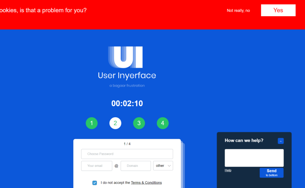 Screenshot of the User Inyerface site which shows what bad UX design looks like